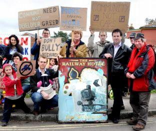 Whitchurch residents protest against plans to build a car park on the former Railway Inn site