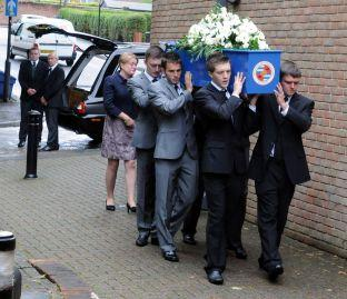 Robert Sebbage's coffin is carried to the church
