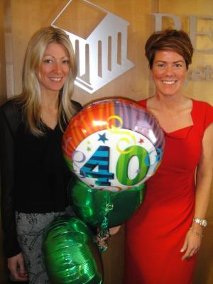 Persimmon Homes Southern Charities Co-ordinator Kelly Anderson and Sales Director Tracey Lee launch the 40th birthday competition.