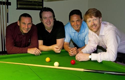 Picture by Paul Adams: billiards semi-finalists, from left: Steve Allen, John Mullane, Terry Azor, Paul Adams.
