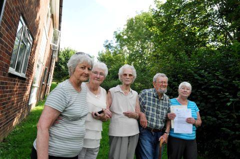 Residents Maureen Gearing, 68, Doreen Jacques, 89, Jean Sturt, 89, Jack Crick, 90, and June Burley, 74 are angry about the height of trees that are now blocking light into their flats
