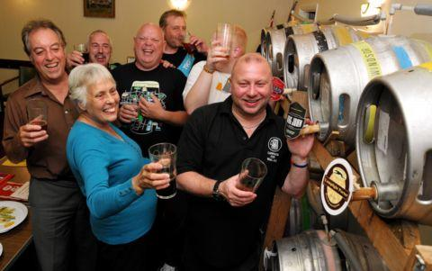 Front: Ted Squires, Pam Mansfield and Phil Myatt, north Hampshire CAMRA. Back row: Tony Brownes, Dave Wood, Aaron Rose and Luke Rose