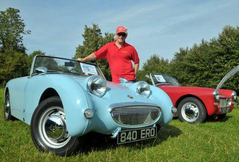 Barry Green with a 1958 Austin Healy Frogeye Sprite