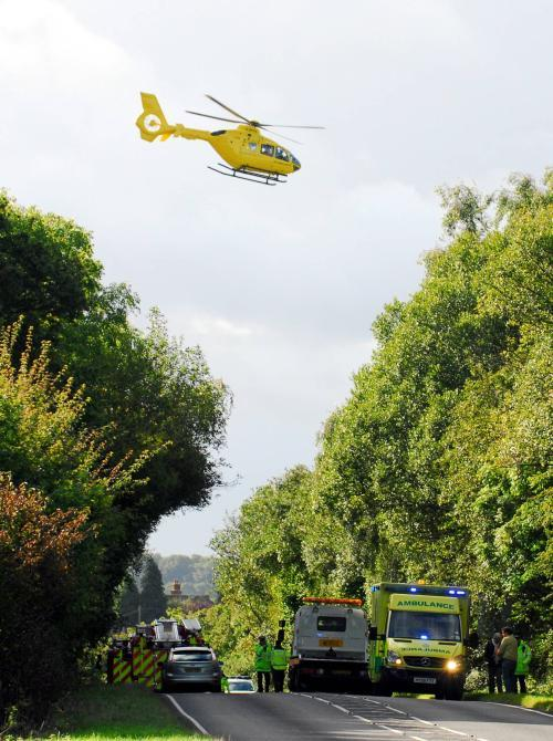 Air ambulance leaves the accident scene on the A340 this morning, Pic by Sean Dillow