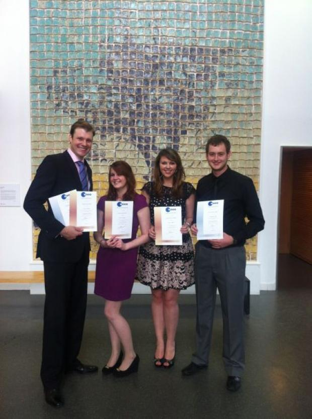 (L-r) Winners Andrew Giddings, Cara Laithwaite, Domonique Jenkins and runner-up Gareth Messenger at the BJTC awards. Photo by Claire Lomas