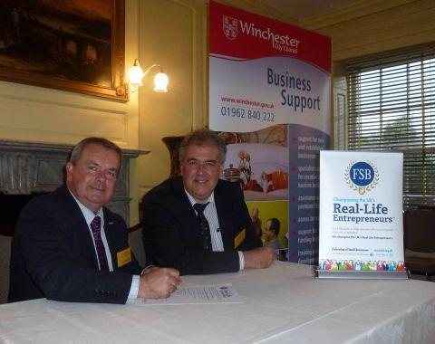 (L-r) Cllr Robert Humby and David Webb of the Federation of Small Businesses