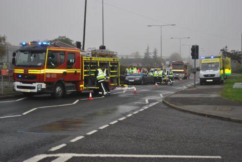 The crash scene on the A30 Winchester Road