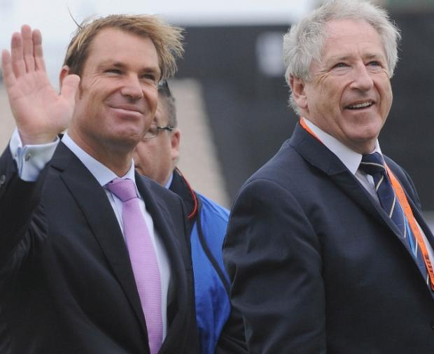 Shane Warne with Hampshire chairman Rod Bransgrove