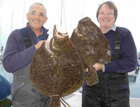 Steve Rose and Alec Harmer with their great turbot caught off the Needles