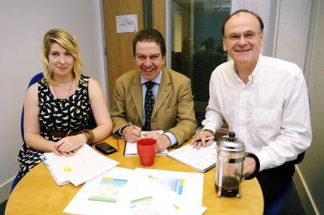 (From left) Imogen Wright, Andy Molloy, and Martin Heath