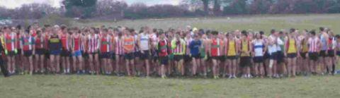 Runners line up for Hampshire Cross Country League start