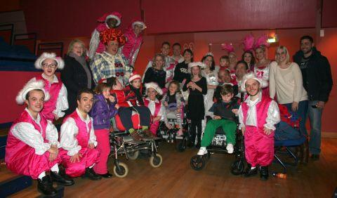 The VIP guests meet the pantomime staff