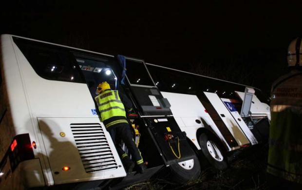 Eight people hurt in in M3 coach crash