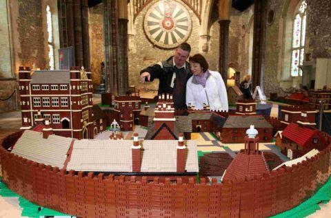 Stewart Morland and Lois Price admire the model of Basing House