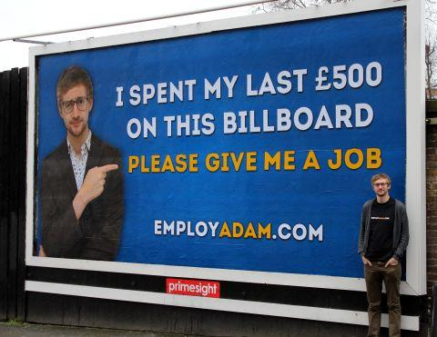 Adam Pacitti, who spent thousands searching for the girl of his dreams in 2008, with his billboard ad