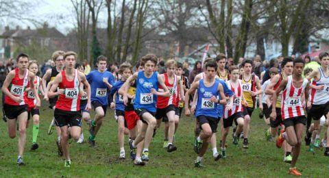 The under-15 boys' race gets under way at Fleming Park.