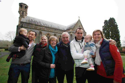 Tony Taylor (left) and his family have been organising fundraisers for St Matthew's Church, Otterbourne, which had lead stolen from its roof last week