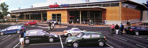 Artist's impression on the Tesco Extra proposed for Winchester Road
