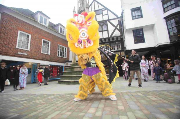 The celebrations featured a traditional lion dance in the High Street.
