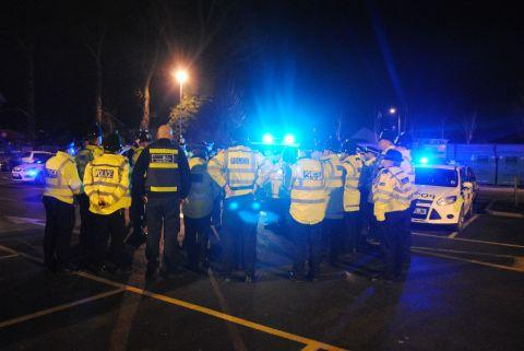 Officers are briefed as they arrive in Tadley to take part in Op Surge