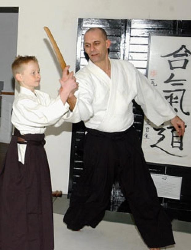 High ranking: Steven Jones practises his techniques on sensei Tony O'Connor at The Isshinkai Aikido Academy in Fyfield.