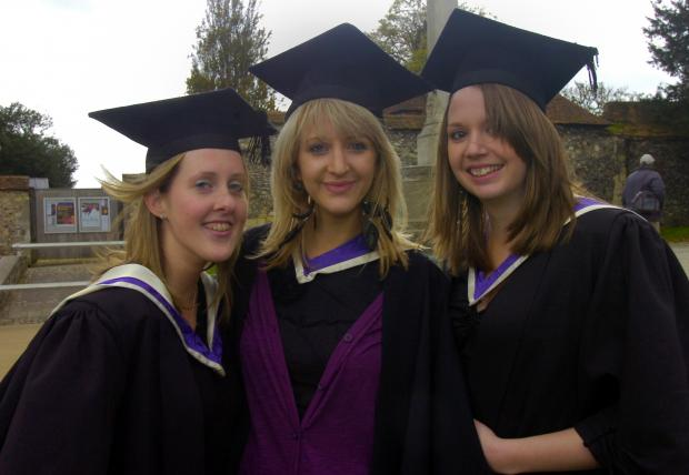 Past University of Winchester students celebrating graduation